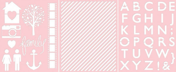 Teresa Collins Designs - Basically Essential Collection - 8 x 10 Stencil Pack - BE1003 - Shop and Crop Scrapbooking