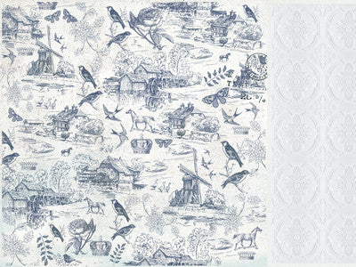 Provincial 12x12 Scrapbook Paper - Toile - Shop and Crop Scrapbooking