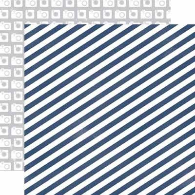 Blue Stripe Paper- Creative Agenda - Shop and Crop Scrapbooking