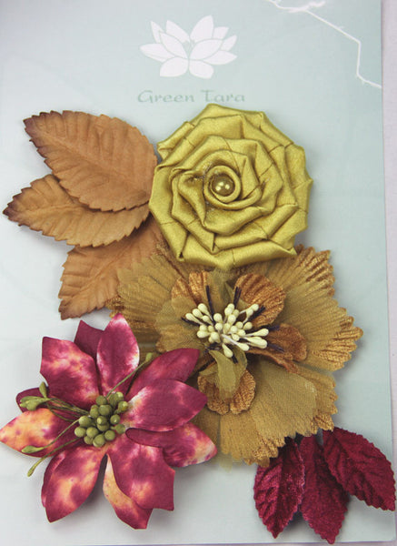 Fabric Flowers 'Autumn Days' Pack - Shop and Crop Scrapbooking