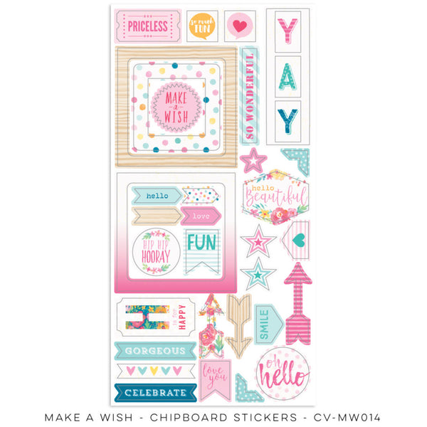 Cocoa Vanilla Studio Make A Wish CHIPBOARD ACCENTS - Shop and Crop Scrapbooking
