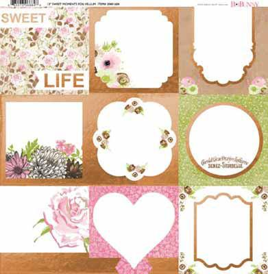 Bo Bunny Sweet Moments Foil Vellum Paper - Shop and Crop Scrapbooking