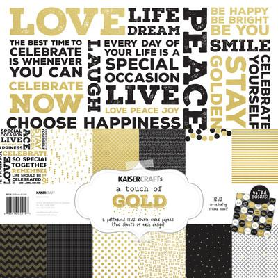 A Touch of Gold Paper Pack with bonus sticker sheet - Shop and Crop Scrapbooking