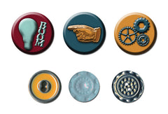 Craftsman - Cameo & Button (6 pc/pk approx .875 x .875 inch)