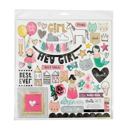 Cute Girl - Chipboard Stickers - Shop and Crop Scrapbooking
