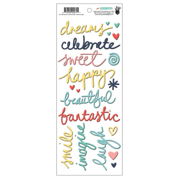 Happy PLace Script Words Puffy Stickers - Shop and Crop Scrapbooking