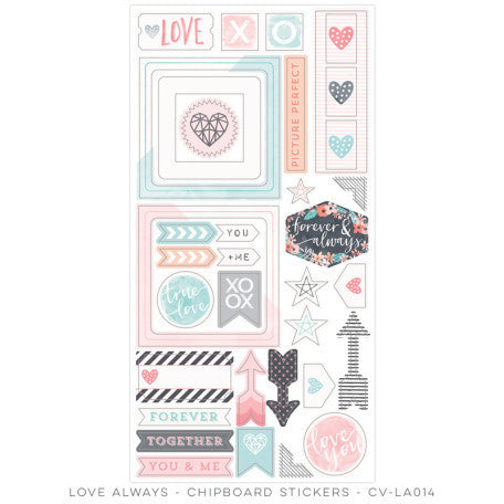 Cocoa Vanilla Studio - Love Always CHIPBOARD ACCENTS - Shop and Crop Scrapbooking