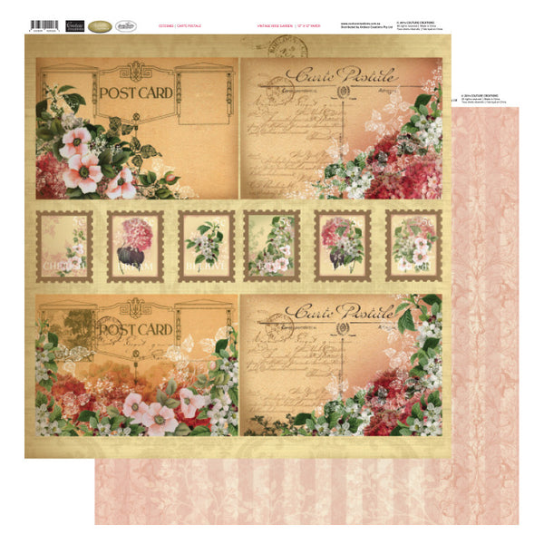 Carte Postale - Vintage Rose Garden - Shop and Crop Scrapbooking