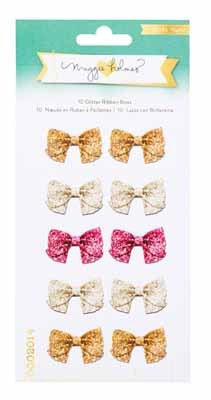 OPEN BOOK Maggie Holmes 10 Glitter Ribbon Bows - Shop and Crop Scrapbooking