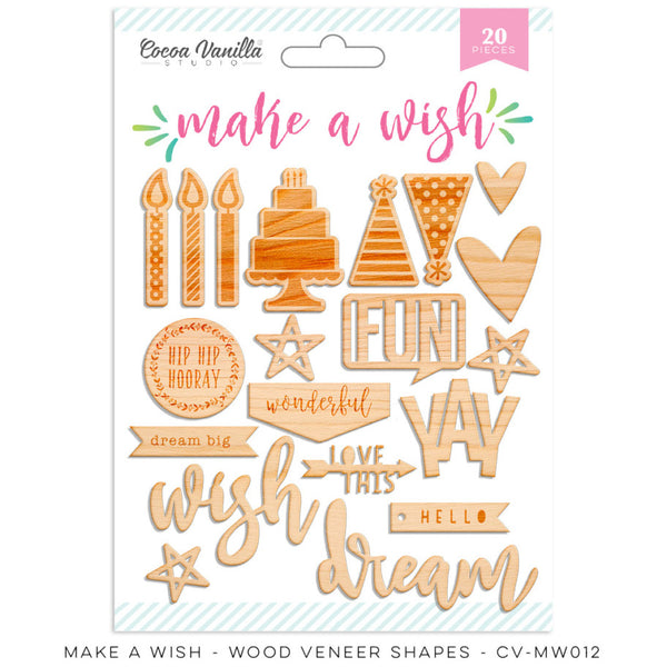 Cocoa Vanilla Studio Make A Wish WOOD VENEER SHAPES - Shop and Crop Scrapbooking