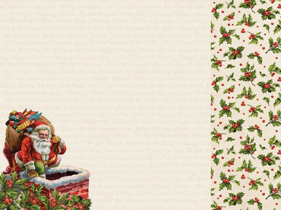 Kaisercraft Silent Night 12x12 Scrapbook Paper - Down the Chimney - Shop and Crop Scrapbooking