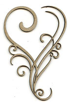 Heart Flourish Chipboard