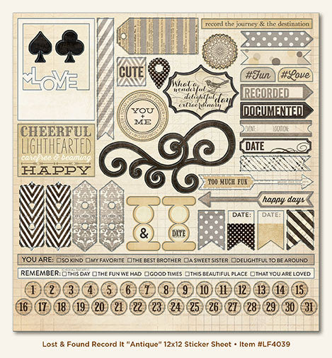 Lost and Found Record It Collection - Antique - 12 x 12 Cardstock Sticker Sheet - Shop and Crop Scrapbooking