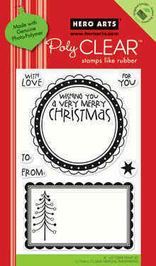 Hero Arts - Poly Clear - Christmas - Clear Acrylic Stamps - Large Christmas Tags - Shop and Crop Scrapbooking