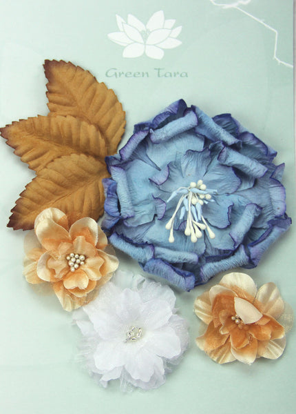 Fabric Flowers 'Autumn Blue' Pack - Shop and Crop Scrapbooking