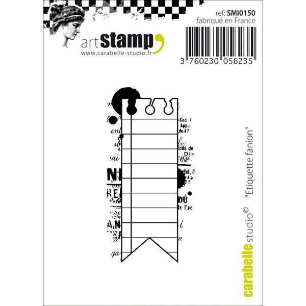 "Carabelle Studio Flag Label Cling Stamp 2.75""X3.75"" - Shop and Crop Scrapbooking"