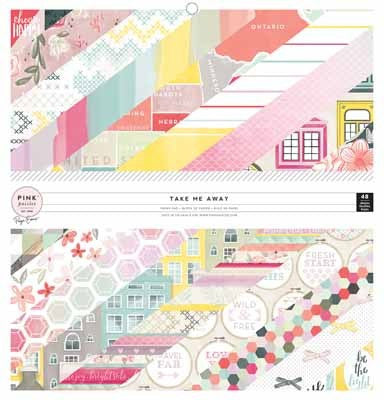 "Pink Paislee - Take Me Away -Pink Paislee Single-Sided Paper Pad 12""X12"" 48/Pkg - Shop and Crop Scrapbooking"