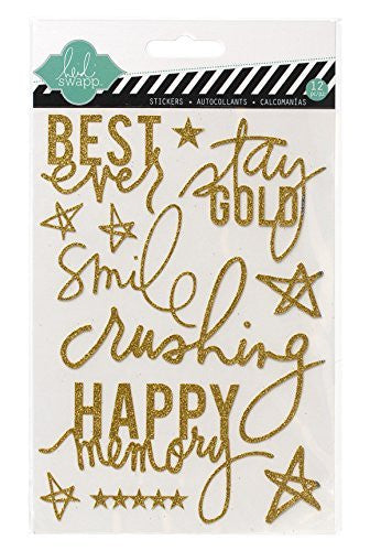 Heidi Swapp Glitter Stickers, Gold - Shop and Crop Scrapbooking