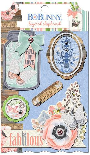BoBunny - Butterfly Kisses Collection - Layered Chipboard Stickers - Shop and Crop Scrapbooking