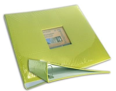 "12x12"" D-Ring Faux Leather Binder - Lime Green - Shop and Crop Scrapbooking"