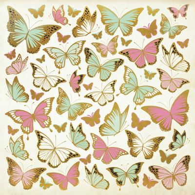 All That Glitters 12x12 Specialty Paper - Golden Butterflies - Shop and Crop Scrapbooking
