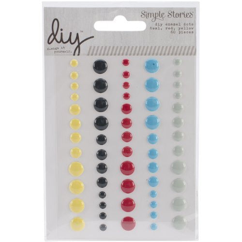 DIY - Enamel Dots - Teal. Red Yellow - Shop and Crop Scrapbooking