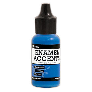Enamel Accents - Blue Ribbon - Shop and Crop Scrapbooking