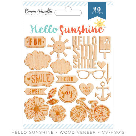 Hello Sunshine Wood Veneer - Shop and Crop Scrapbooking