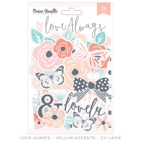 Cocoa Vanilla Studio - Love Always VELLUM ACCENTS - Shop and Crop Scrapbooking
