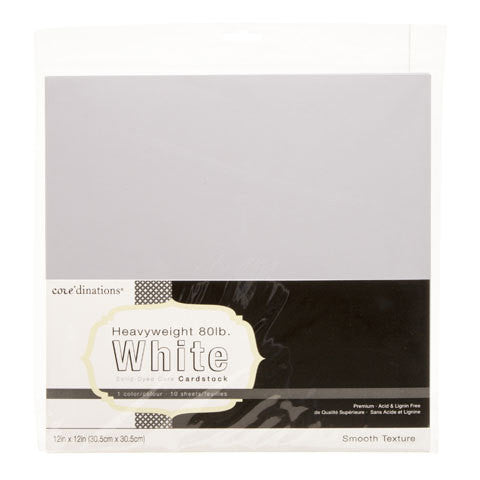 Core'dinations - 12x12, 10 sheet White 80lb - Premium Smooth Texture - Shop and Crop Scrapbooking