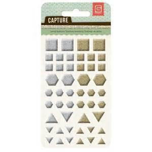 Basic Grey Candy Buttons - Metallic Shapes - Shop and Crop Scrapbooking