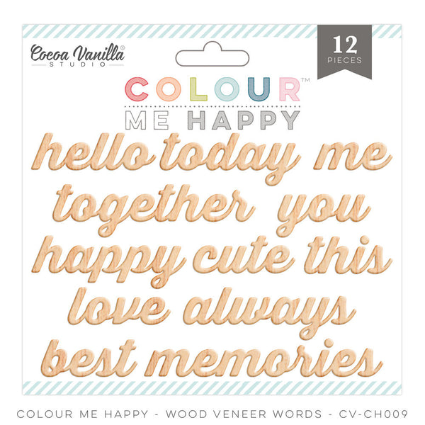 "Colour Me Happy ""Wood Veneer Words"" - Shop and Crop Scrapbooking"