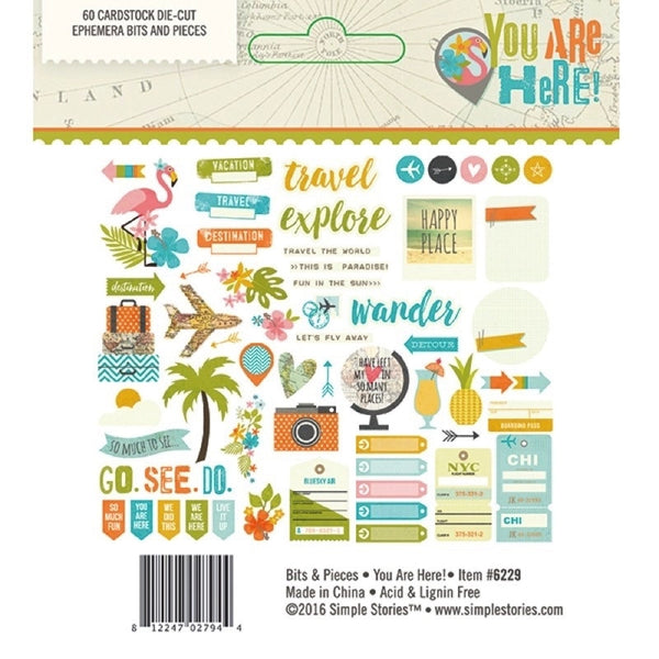 You are Here Die Cut Ephemera - Shop and Crop Scrapbooking