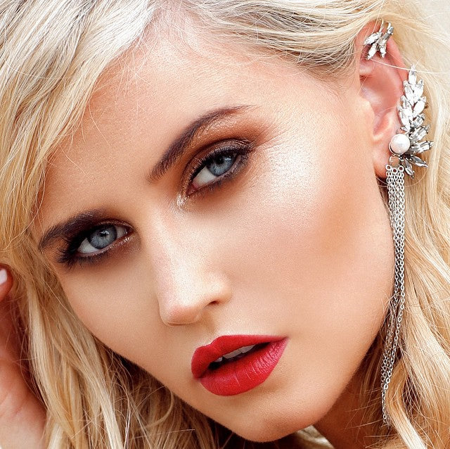 Actress Anna Bamford wears Sarina Suriano Iroro crystal ear cuff