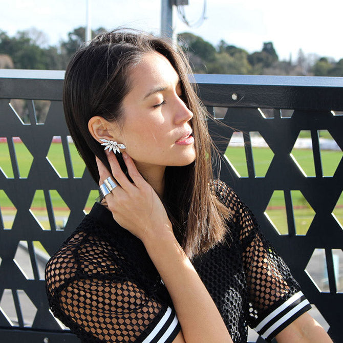 Emily Highfield from StyleBk blog wears Sarina Suriano Stella crystal ear cuffs