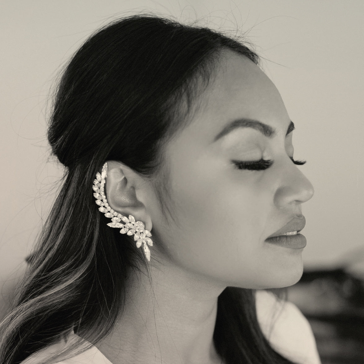 Singer Jessica Mauboy wears Sarina Suriano Aries Charm crystal ear cuff and stud