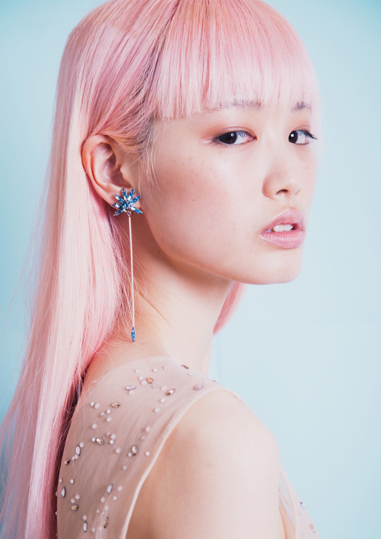 "Image by Bonnie Hansen for 1AM Magazine editorial ""Just Be"" modelled by Fernanda Ly and styled by Nicole Adler wearing Sarina Suriano Fallen Folium drop earrings"