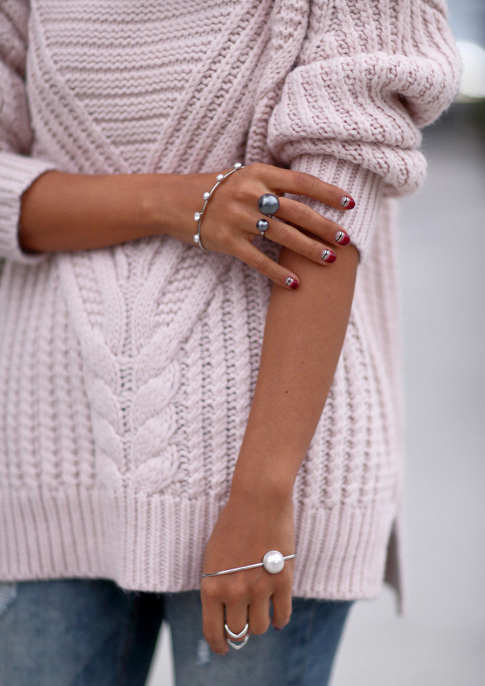 "VivaLuxury - Fashion Blog by Annabelle Fleur in editorial ""Blue Jean Baby"" wears Sarina Suriano Sagittarius Astris pearl ring, Sparkling Caelum Palm cuff and Lustrous Oculous Palm Cuff"