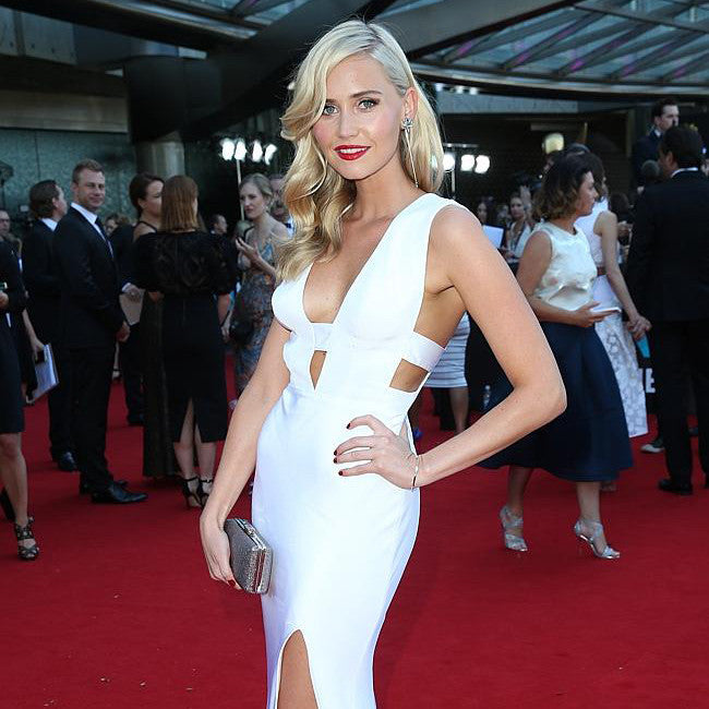 Actress Anna Bamford at the AACTA awards wears Sarina Suriano fallen folium crystal earrings