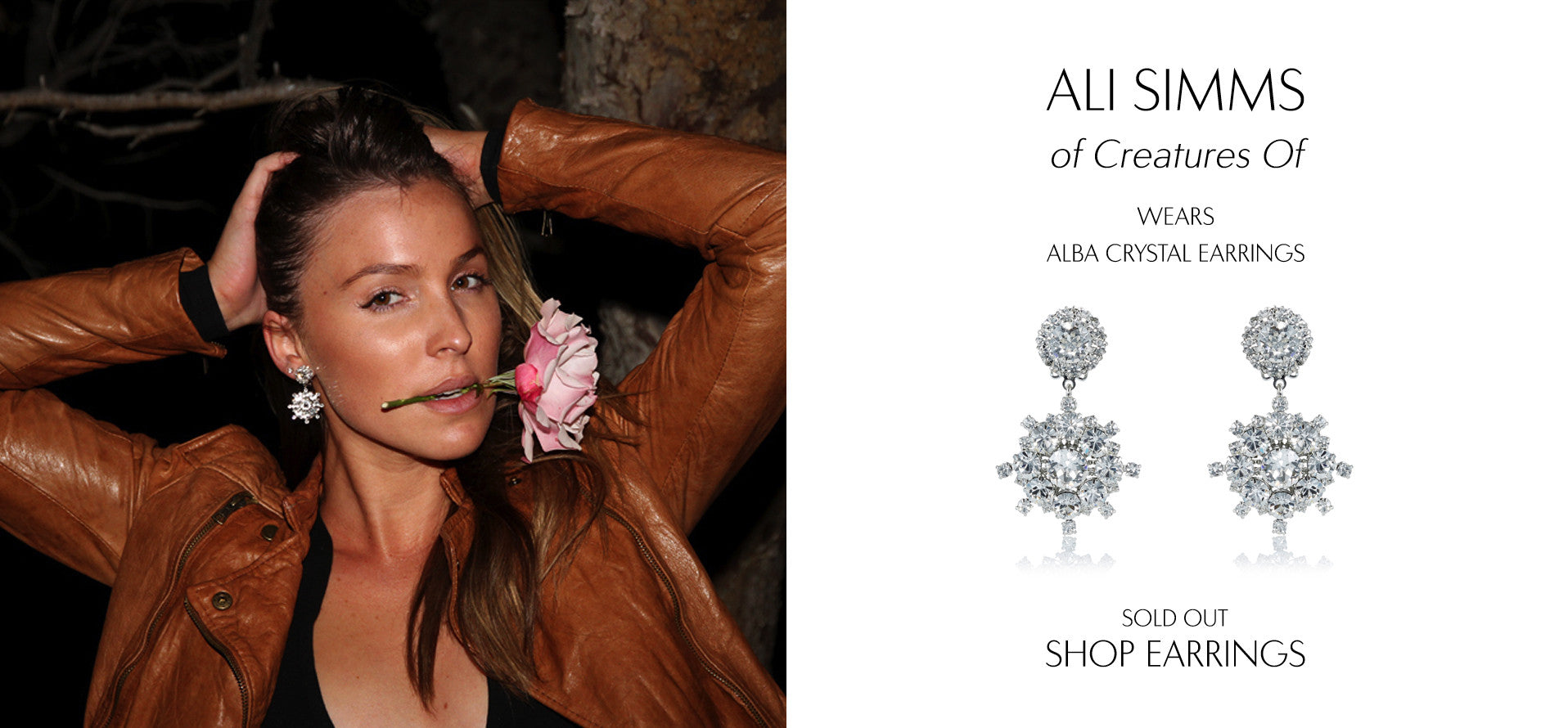 Creatures Of - Fashion Blog by Ali Simms wears Sarina Suriano alba crystal drop earrings made with Swarovski crystal