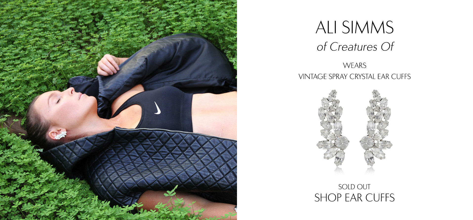 Creatures Of - Fashion Blog by Ali Simms wears Sarina Suriano Vintage Spray crystal earcuffs