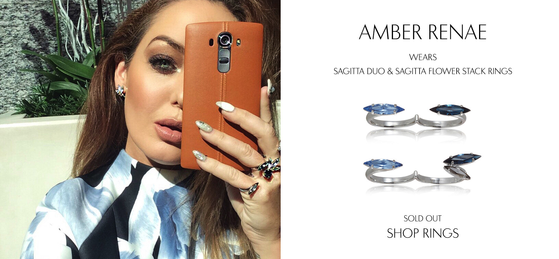 Amber Renae in Singapore to promote the new Samsung LG G4 wearing Sarina Suriano crystal rings and earrings