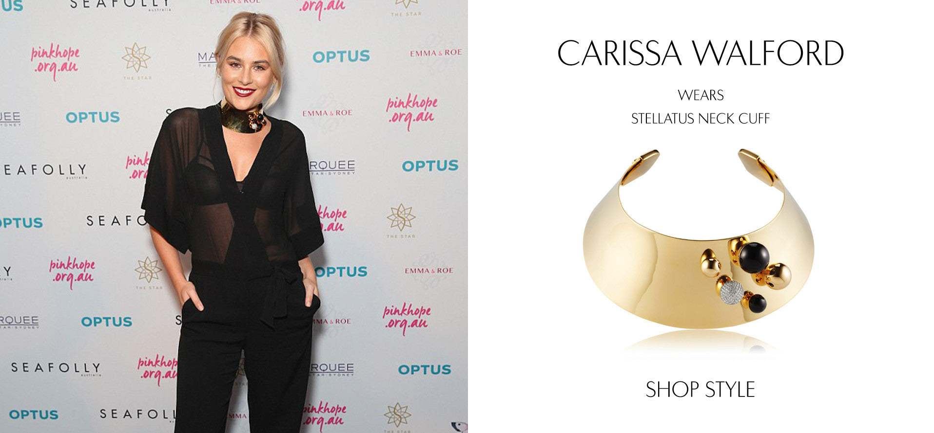 Carissa Walford attends the Pinky Promise gala in Sydney wearing Sarina Suriano Stellatus Neck cuff in Black onyx