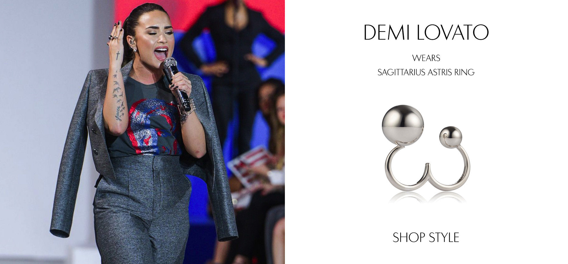 DEMI LOVATO at Hillary Clinton's Fashion Show Fundraiser in New York September 2016 wearing Sarina Suriano Sagittarius Astris ring