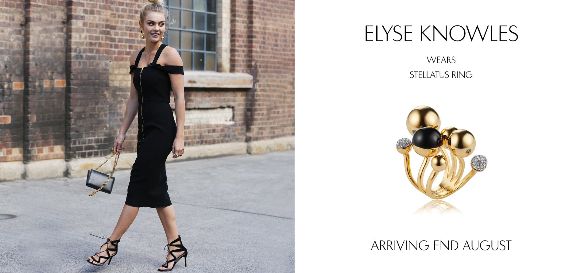 Model Elyse Knowles at MBFWA 2016 wears Sarina Suriano Stellatus ring in 18K gold plating from the Sphera collection