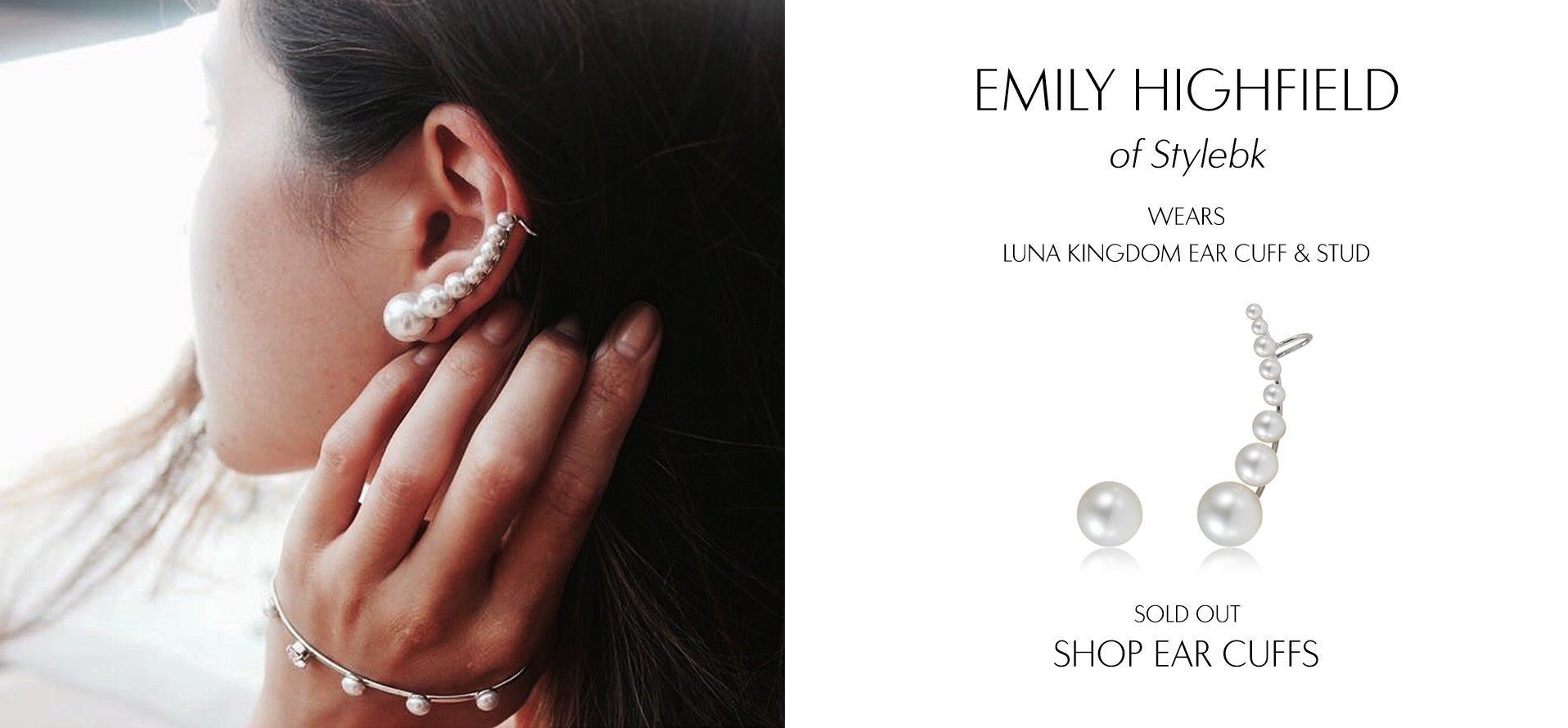 Stylebk - Fashion Blog by Emily Highfield wears Sarina Suriano Luna Kingdom pearl earcuff and stud