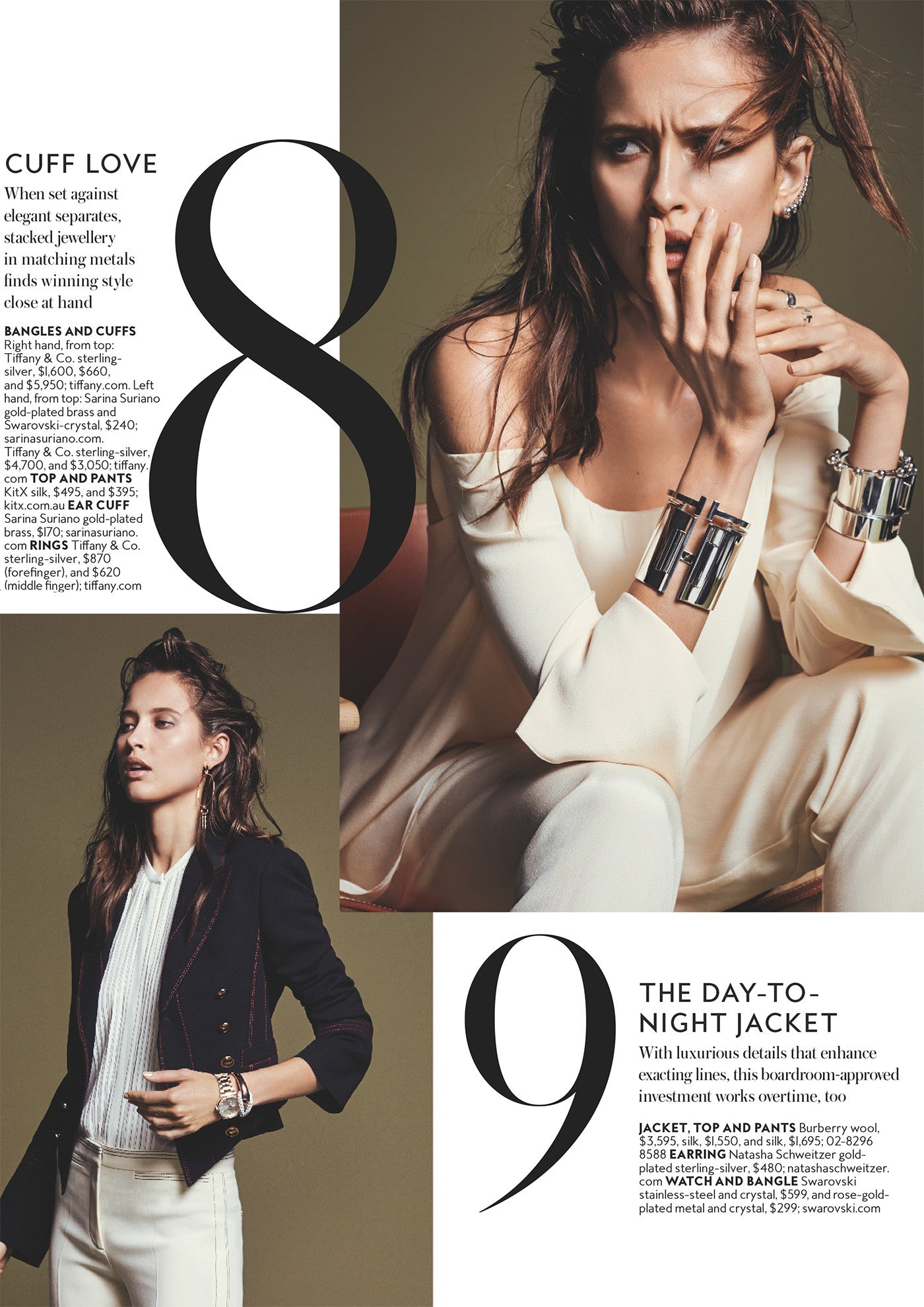 Instyle Magazine - Cuff Love fashion story wearing Sarina Suriano Luna Kingdom Ear cuffs and Luceat bangle from the Sphera collection