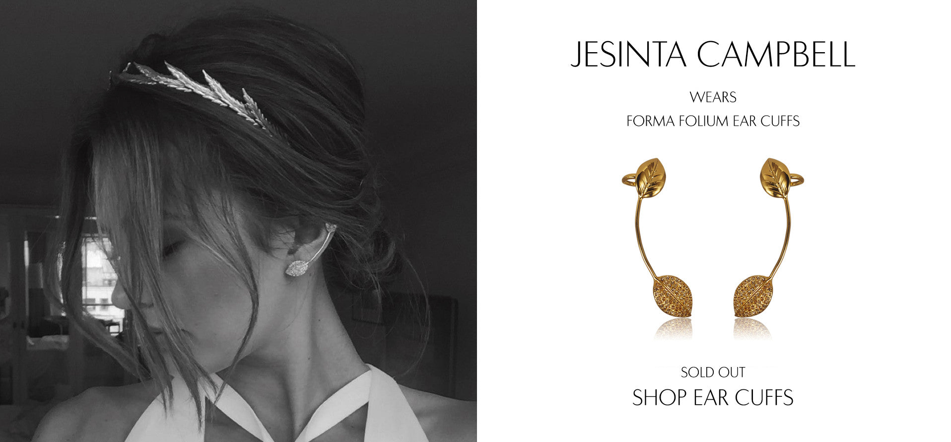 Model Jesinta Campbell wears Sarina Suriano Forma Folium Ear cuffs to The Caulfield Cup 2015