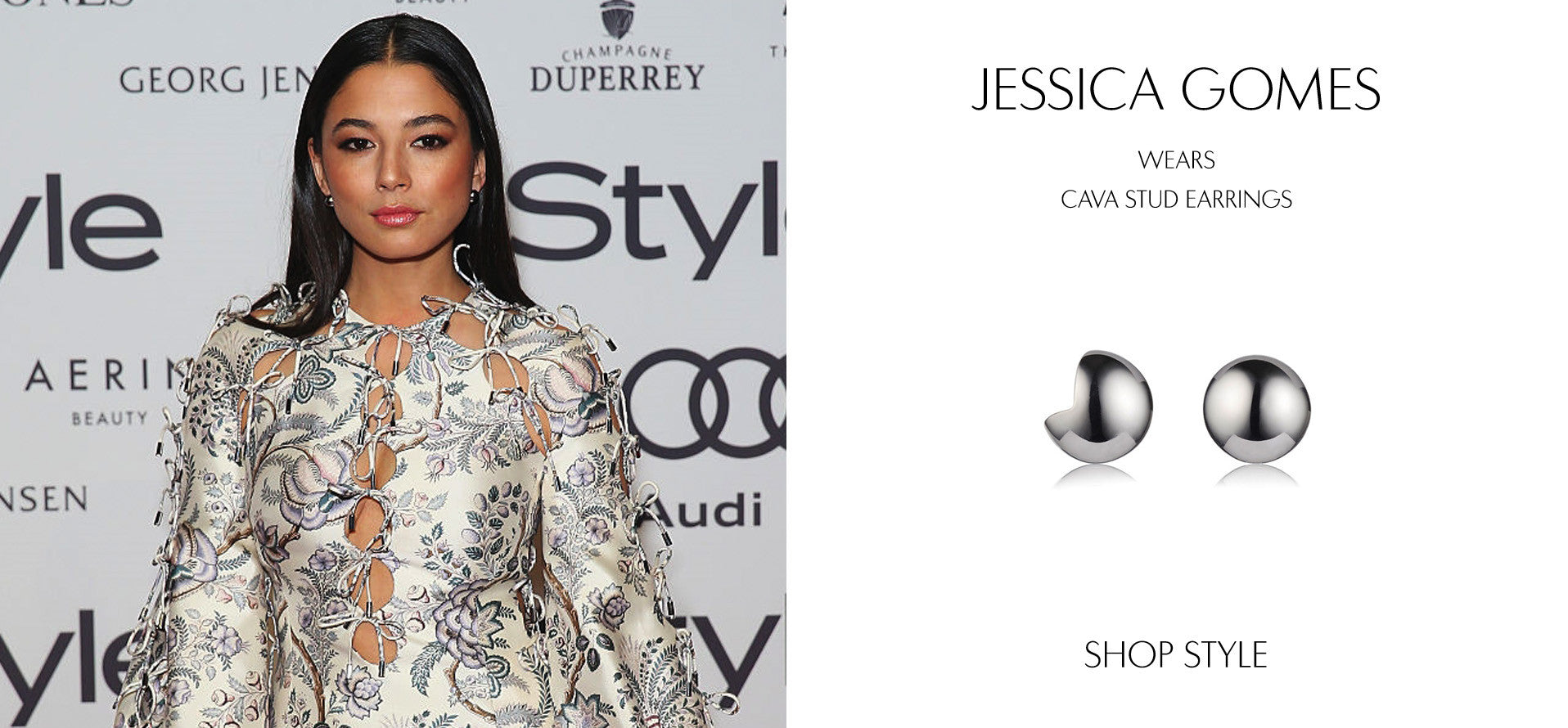 Jessica Gomes at the Instyle Magazine Women in Style Awards 2016 wearing Sarina Suriano Cava stud earrings