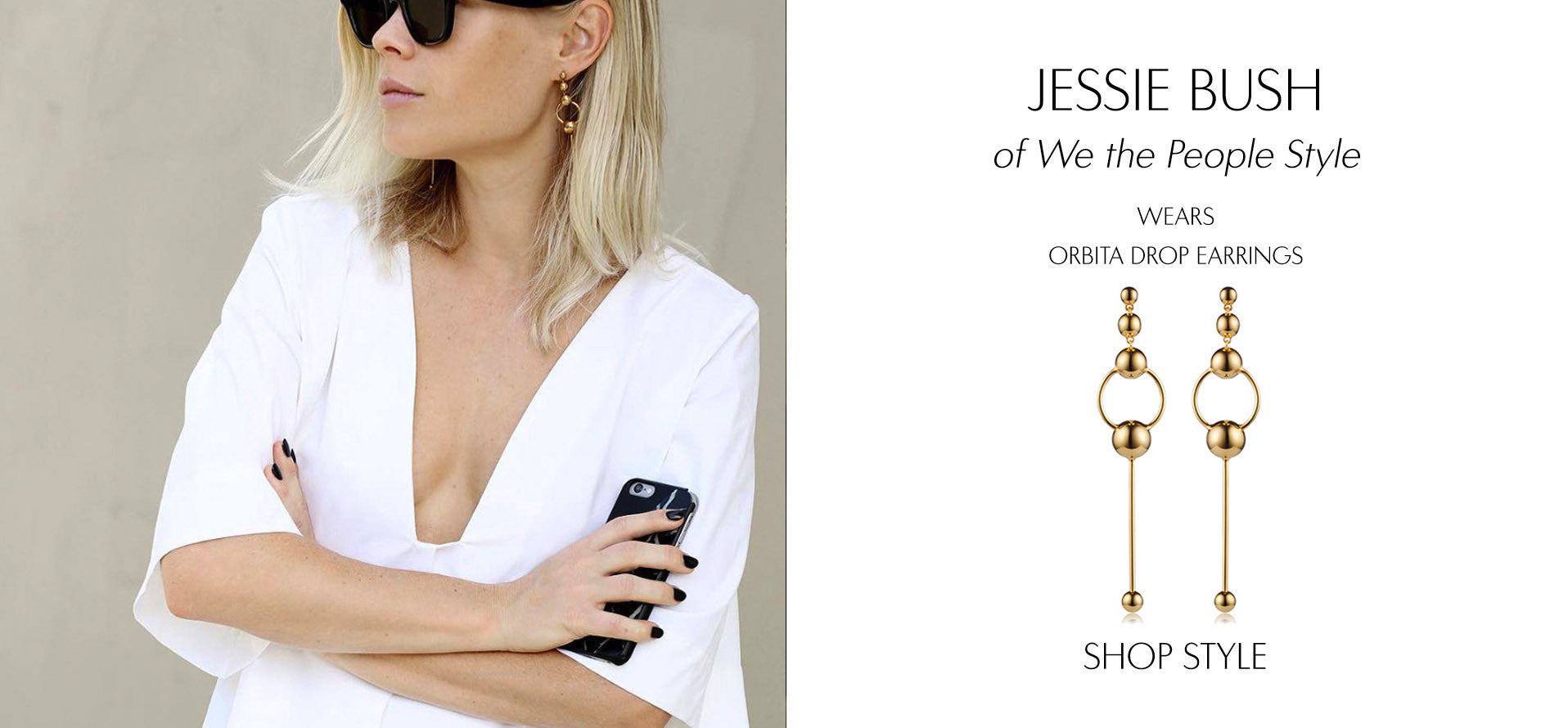 Influencer Jessie Bush wears Sarina Suriano Orbita earrings in 18K gold plating from the Sphera collection